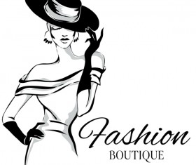 Fashion boutique background with beautiful girl vector 04