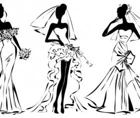 Fashion girls illustration vector set 01