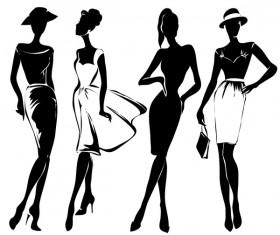 Fashion girls illustration vector set 02