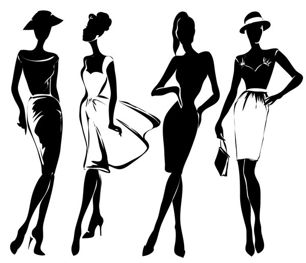 Fashion girls illustration vector set 02