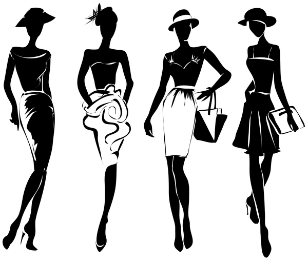 Fashion girls illustration vector set 03