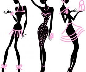 Fashion girls illustration vector set 04