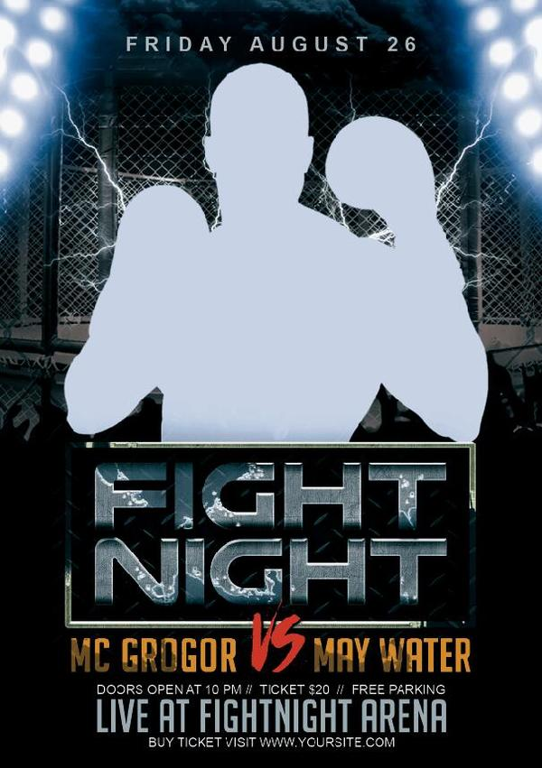 fight night flyer psd template