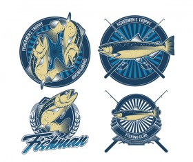 Fishermen trophy badge vector