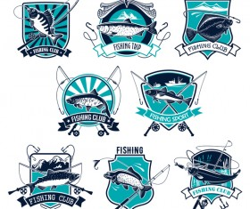 Fishing club emblem design vector