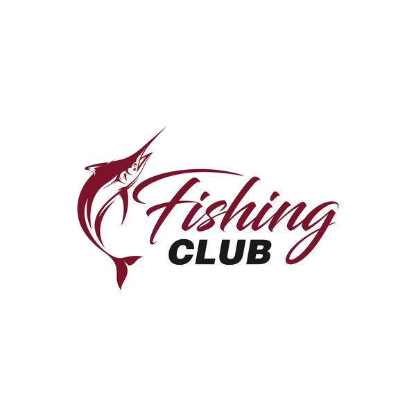 Fishing club logo design vector material 02