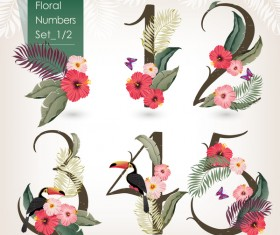 Floral number design vector