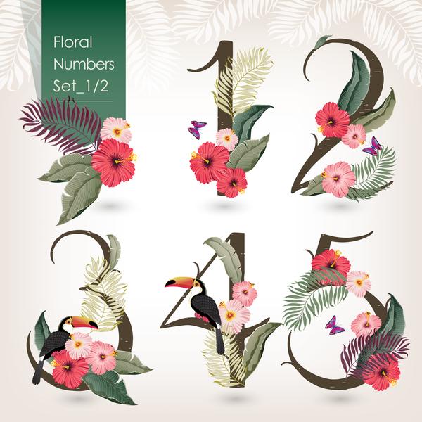 Floral number design vector