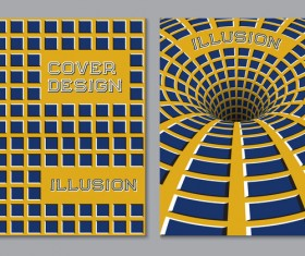 Flyer and brochure cover illusion design vector 02