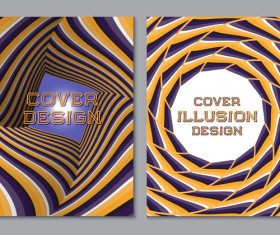 Flyer and brochure cover illusion design vector 03