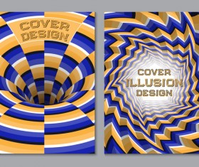Flyer and brochure cover illusion design vector 04