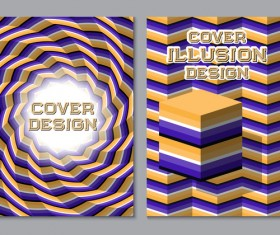 Flyer and brochure cover illusion design vector 05