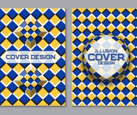 Flyer and brochure cover illusion design vector 07