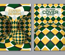 Flyer and brochure cover illusion design vector 08
