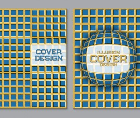 Flyer and brochure cover illusion design vector 09