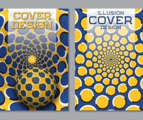 Flyer and brochure cover illusion design vector 13