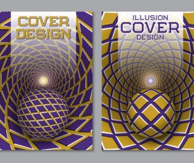 Flyer and brochure cover illusion design vector 14