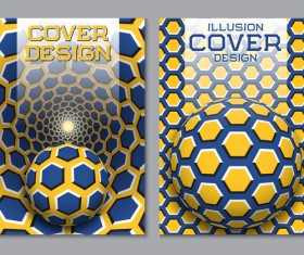 Flyer and brochure cover illusion design vector 16
