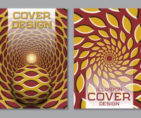 Flyer and brochure cover illusion design vector 17