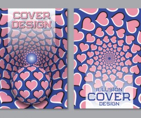 Flyer and brochure cover illusion design vector 18