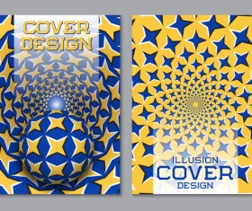 Flyer and brochure cover illusion design vector 19