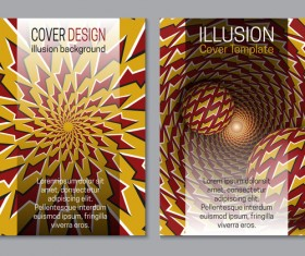 Flyer and brochure cover illusion design vector 21