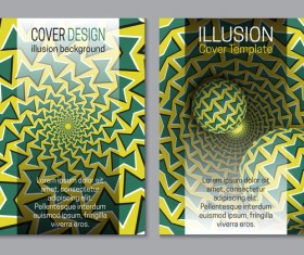 Flyer and brochure cover illusion design vector 22