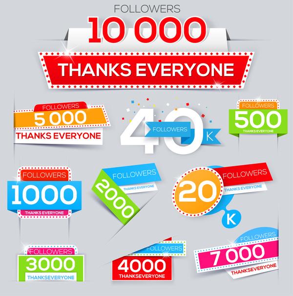 Followers thanks everyone vector design