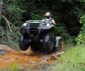 Four-wheel drive motorcycle off-road challenge Stock Photo
