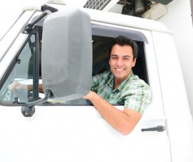 Freight truck driver Stock Photo