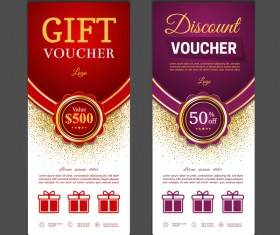 Gift voucher vertical card template vector 02
