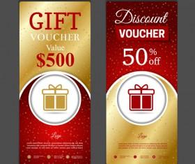 Gift voucher vertical card template vector 05