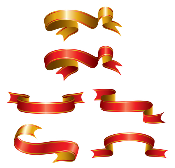 Gold red ribbons design vector