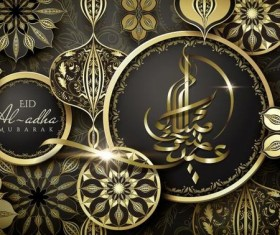 Golden Eid al-Adha Mubarak ismalic background with decorative vector