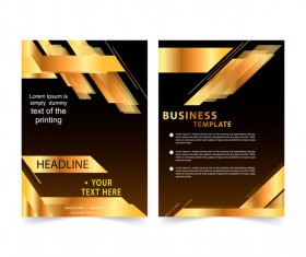 Golden company brochure cover template vector 01
