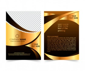Golden company brochure cover template vector 02