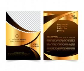 Golden company brochure cover template vector 02