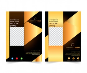 Golden company brochure cover template vector 03