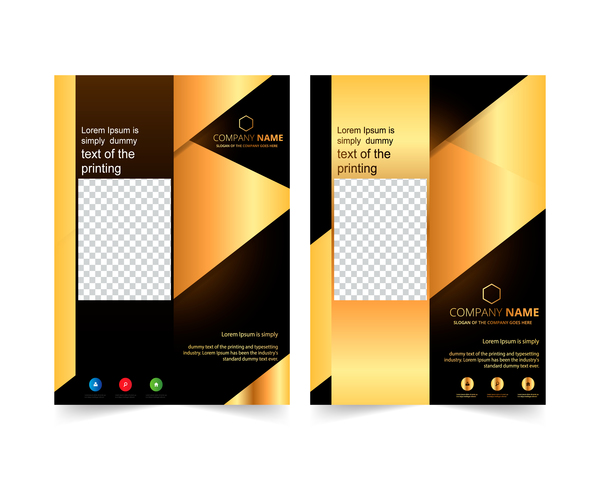 Golden company brochure cover template vector 03