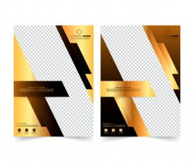 Golden company brochure cover template vector 04