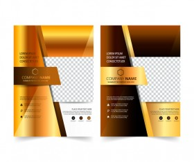Golden company brochure cover template vector 05