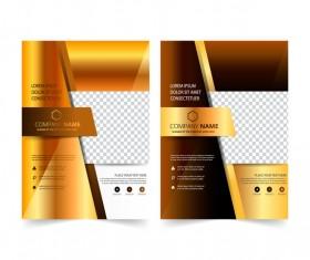 Golden company brochure cover template vector 05