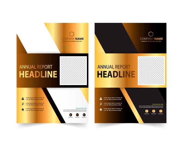 Golden company brochure cover template vector 06