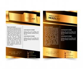 Golden company brochure cover template vector 07