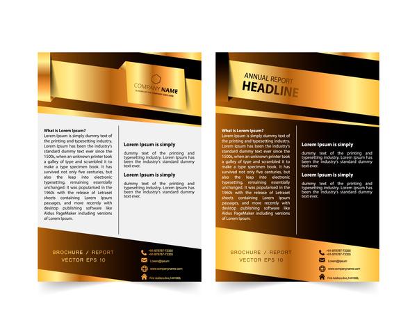 Golden company brochure cover template vector 07