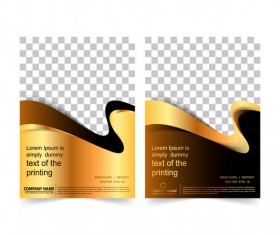 Golden company brochure cover template vector 08