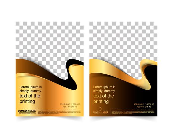 Golden company brochure cover template vector 08