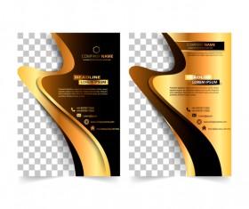 Golden company brochure cover template vector 09