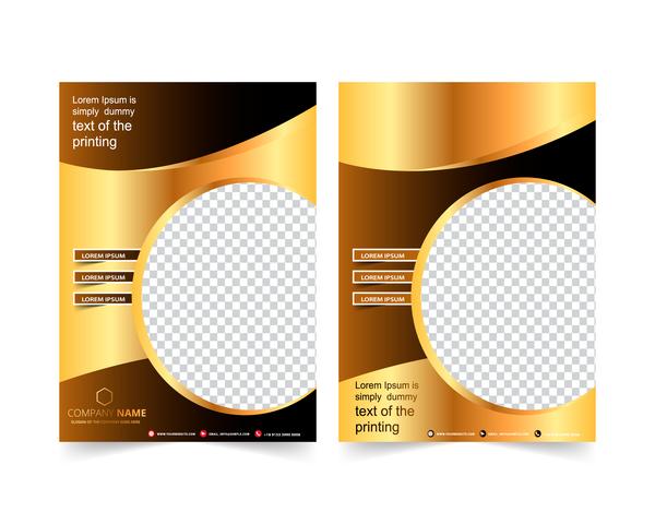 Golden company brochure cover template vector 10