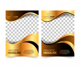 Golden company brochure cover template vector 11